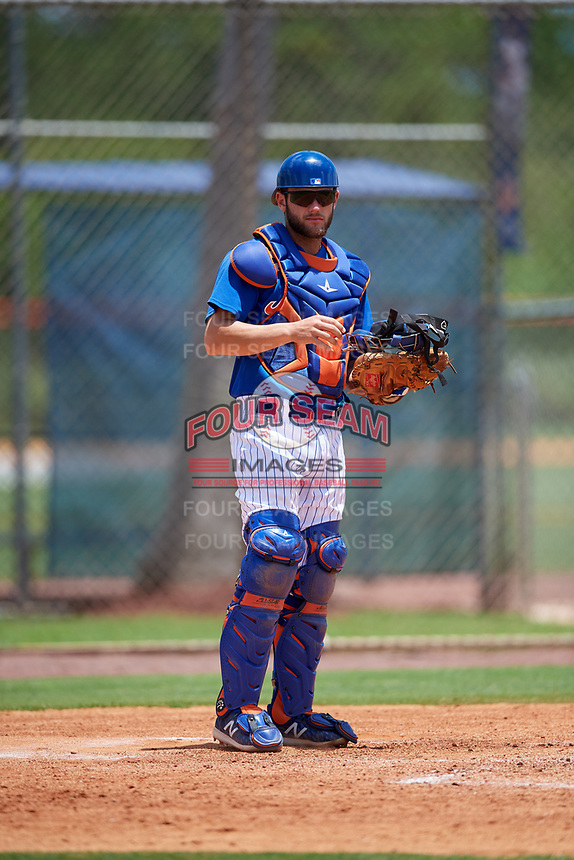 GCL Mets catcher Nelson Mompierre (9) during a game against the GCL Marlins on August 3, 2018 at St. Lucie Sports Complex in Port St. Lucie, Florida.  GCL Mets defeated GCL Marlins 3-2.  (Mike Janes/Four Seam Images)