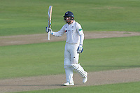 Johnny Bairstow of Yorkshire raises his bat to celebrate reaching his fifty during Essex CCC vs Yorkshire CCC, Specsavers County Championship Division 1 Cricket at The Cloudfm County Ground on 4th May 2018
