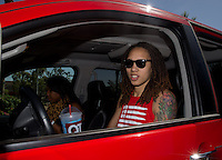 Jun. 10, 2013; Phoenix, AZ, USA: Phoenix Mercury center Brittney Griner in her truck prior to heading to a team practice at the US Airways Center. Mandatory Credit: Mark J. Rebilas-