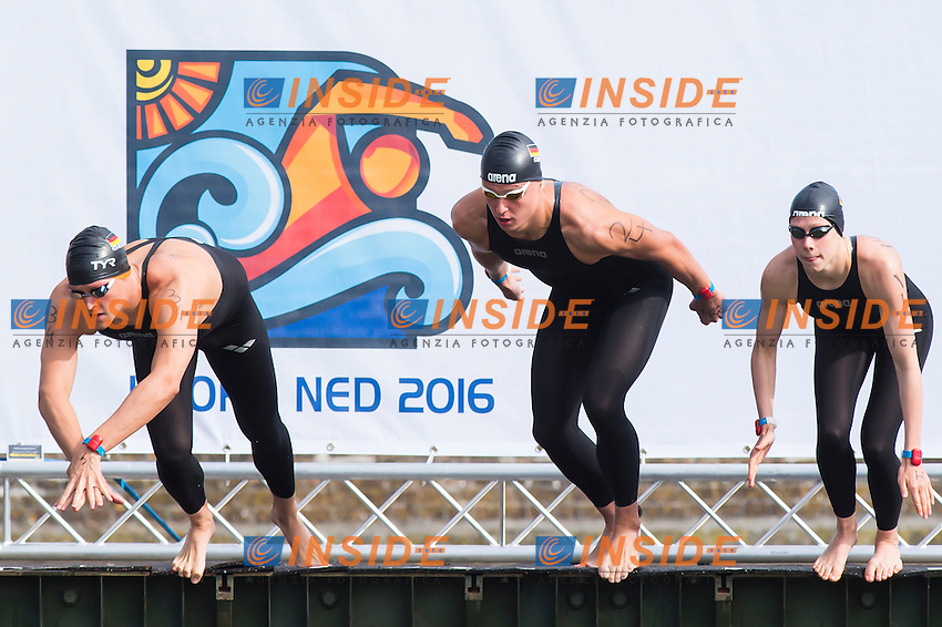 Team GERMANY silver medal - WUNRAM Finnia, MUFFELS Rob, WASCHBURGER Andreas<br /> Hoorn, Netherlands <br /> LEN 2016 European Open Water Swimming Championships <br /> Open Water Swimming<br /> 5km Team Event Mixed<br /> Day 03 13-07-2016<br /> Photo Giorgio Perottino/Deepbluemedia/Insidefoto