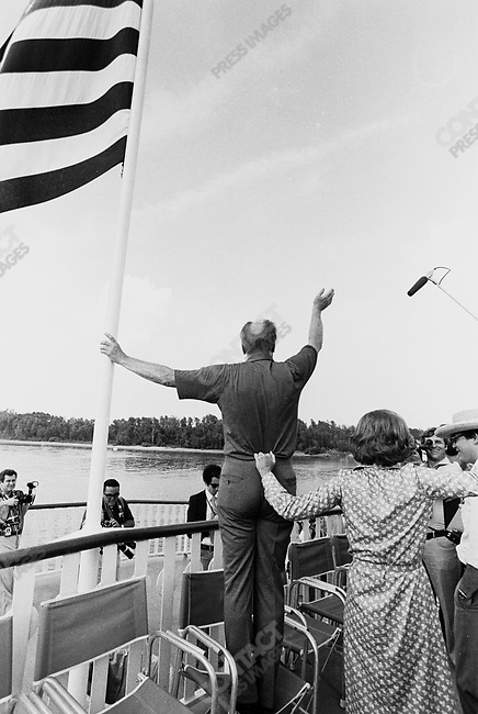 U.S. President Gerald Ford, with his wife, Betty, on a boat trip during Ford's re-election campaign. Near New Orleans, Louisiana, September 1976..