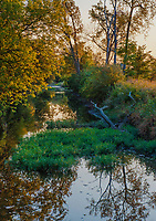 Prairie Creek flows through Midewin National Yallgrass Paririe in Autumn Will County, Illinois