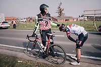 Marco Marcato (ITA/UAE-Emirates) after a crash<br /> <br /> 81st Gent-Wevelgem in Flanders Fields (1.UWT)<br /> Deinze &gt; Wevelgem (251km)