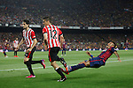 Barcelona´s Neymar Jr falls and Athletic de Bilbao´s Unai Bustinza during 2014-15 Copa del Rey final match between Barcelona and Athletic de Bilbao at Camp Nou stadium in Barcelona, Spain. May 30, 2015. (ALTERPHOTOS/Victor Blanco)