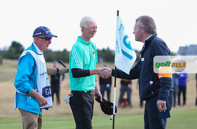 Jimmy Mullen (ENG) win his match 3&amp;2 during Sunday afternoon Singles matches of The Walker Cup 2015 played at Royal Lytham and St Anne's, Lytham St Anne's, Lancashire, England. 13/09/2015. Picture: Golffile | David Lloyd<br /> <br /> All photos usage must carry mandatory copyright credit (&copy; Golffile | David Lloyd)
