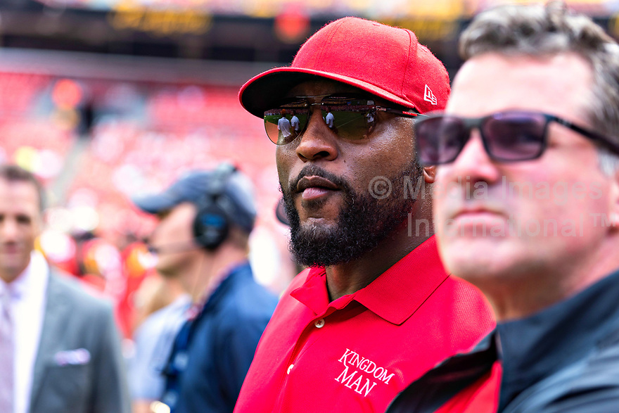 Landover, MD - September 1, 2018: Baltimore Ravens Hall of Famer Ray Lewis on the sidelines during game between Maryland and No. 23 ranked Texas at FedEx Field in Landover, MD. The Terrapins upset the Longhorns in back to back season openers with a 34-29 win. (Photo by Phillip Peters/Media Images International)