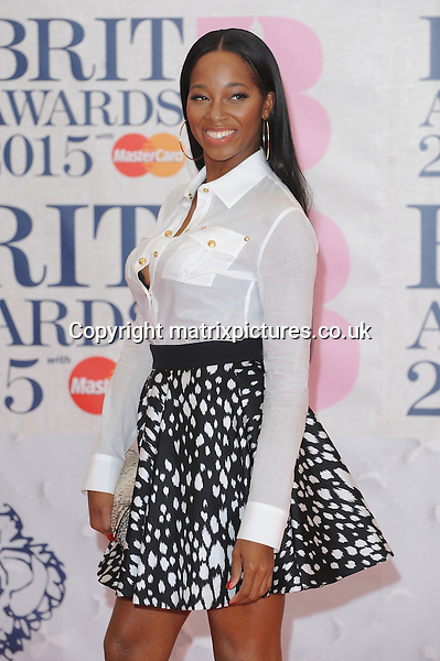 NON EXCLUSIVE PICTURE: PAUL TREADWAY / MATRIXPICTURES.CO.UK<br /> PLEASE CREDIT ALL USES<br /> <br /> WORLD RIGHTS<br /> <br /> English singer Jamelia attending the BRIT Awards 2015 at the O2 Arena, in London.<br /> <br /> FEBRUARY 25th 2015<br /> <br /> REF: PTY 15627