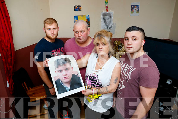 The Family of Twenty-year-old John Burke was last seen in Cork City on June 16th, are appealing for information on his whereabouts, from left: Martin, John, Winnie and Michael James Burke, pictured on Tuesday afternoon last.
