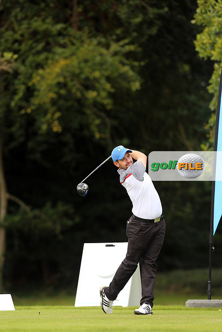 Declan Reidy (Co.Sligo) on the 1st tee during the final of the AIG Senior Cup at Carton House.17/9/16<br /> Picture: Golffile | Jenny Matthews<br /> <br /> <br /> All photo usage must carry mandatory copyright credit (&copy; Golffile | Jenny Matthews)