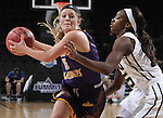 SIOUX FALLS, SD - MARCH 6:  Emily Clemens #15 of Western Illinois looks to pass past defender Faith Ihim #15 of Oral Roberts in the 2016 Summit League Tournament.  (Photo by Dick Carlson/Inertia)