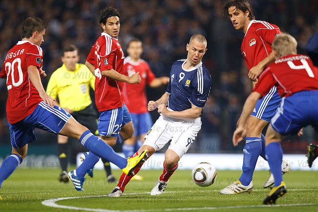 Kenny Miller man marked by five defenders