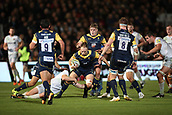 29th September 2017, Sixways Stadium, Worcester, England; Aviva Premiership Rugby, Worcester Warriors versus Saracens; Chris Pennell of Worcester Warriors keeps his balance in the tackle
