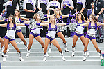 TCU Horned Frogs cheerleaders in action during the game between the SMU Mustangs and the TCU Horned Frogs at the Amon G. Carter Stadium in Fort Worth, Texas. TCU defeats SMU 48 to 17.