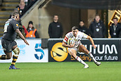 2nd December 2017, Rioch Arena, Coventry, England; Aviva Premiership rugby, Wasps versus Leicester; Ben Youngs of Leicester Tigers jinks left and right