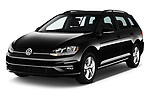 2018 Volkswagen Golf-Variant Comfortline 5 Door Wagon Angular Front stock photos of front three quarter view