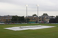 The covers and floodlights are on as rain delays play during Essex CCC vs Somerset CCC, Specsavers County Championship Division 1 Cricket at The Cloudfm County Ground on 29th August 2017