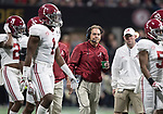 Alabama Crimson Tide head coach Nick Saban joins his team during a time out in the first half of the NCAA College Football Playoff National Championship against the Georgia Bulldogs at Mercedes-Benz Stadium on January 8, 2018 in Atlanta. Photo by Mark Wallheiser/UPI