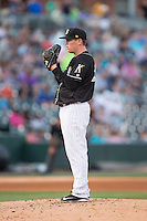 Charlotte Knights starting pitcher Shawn Haviland (28) looks to his catcher for the sign against the Columbus Clippers at BB&T BallPark on May 27, 2015 in Charlotte, North Carolina.  The Clippers defeated the Knights 9-3.  (Brian Westerholt/Four Seam Images)