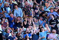 Fans try to catch or dodge a six during the 4th Twenty20 International cricket match between NZ Black Caps and England at McLean Park in Napier, New Zealand on Friday, 8 November 2019. Photo: Dave Lintott / lintottphoto.co.nz