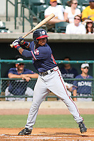 Rome Braves shortstop Mycal Jones #24 at bat during a game vs. the Charleston Riverdogs at Joseph P. Riley Jr. Ballpark in Charleston, South Carolina on June 6, 2010. Charleston defeated Rome by the score of 4-2.  Photo By Robert Gurganus/Four Seam Images
