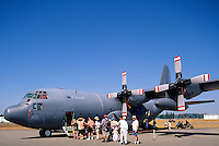 Canadian Forces Lockheed C-130 Hercules Turboprop Military Transport Aircraft on Static Display - at Abbotsford International Airshow, BC, British Columbia, Canada
