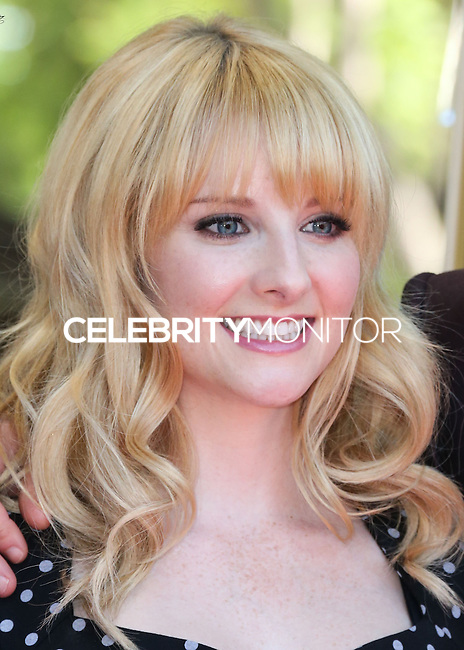 HOLLYWOOD, LOS ANGELES, CA, USA - OCTOBER 29: Melissa Rauch at the ceremony honoring Kaley Cuoco with a star in the Hollywood Walk Of Fame on October 29, 2014 in Hollywood, Los Angeles, California, United States. (Photo by Xavier Collin/Celebrity Monitor)