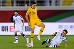 Tom Rogic of Australia (C) fights for the ball with Otabek Shukurov of Uzbekistan (R) during the AFC Asian Cup UAE 2019 Round of 16 match between Australia (AUS) and Uzbekistan (UZB) at Khalifa Bin Zayed Stadium on 21 January 2019 in Al Ain, United Arab Emirates. Photo by Marcio Rodrigo Machado / Power Sport Images