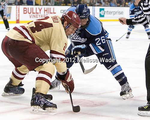 Bill Arnold (BC - 24), Adam Shemansky (Maine - 26) - The Boston College Eagles defeated the University of Maine Black Bears 4-1 to win the 2012 Hockey East championship on Saturday, March 17, 2012, at TD Garden in Boston, Massachusetts.