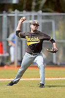 St. Bonaventure Bonnies pitcher Andrew Revello #30 throws out a runner at first during a game against the South Dakota State Jackrabbits at North Charlotte Regional Park on February 23, 2013 in Port Charlotte, Florida.  South Dakota State defeated St. Bonaventure 10-5.  (Mike Janes/Four Seam Images)