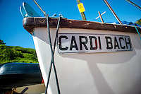 Friday  13  June  2014<br /> <br /> Pictured: Boat Named Cardi Bach ( Little one from Cardiganshire ) in Llangrannog<br /> Re: Views of Llangrannog, Ceredigion, Wales UK