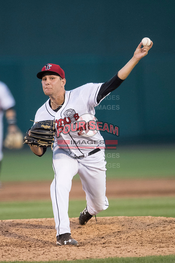 Lansing Lugnuts pitcher Dan Lietz (20) delivers a pitch to the plate during the Midwest League baseball game against the Bowling Green Hot Rods on June 29, 2017 at Cooley Law School Stadium in Lansing, Michigan. Bowling Green defeated Lansing 11-9 in 10 innings. (Andrew Woolley/Four Seam Images)