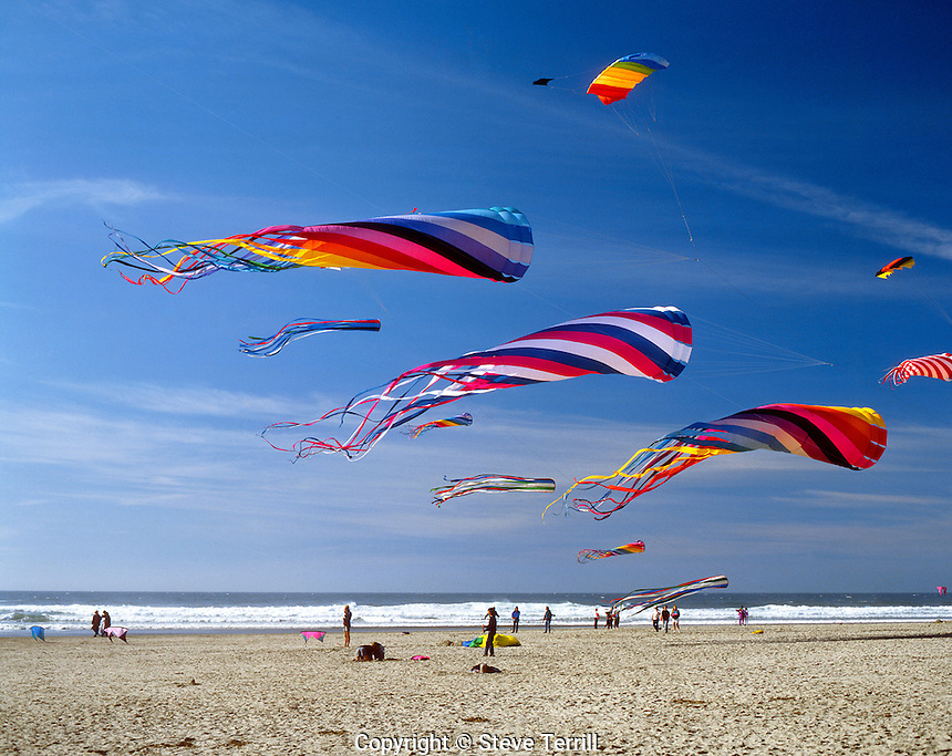 Windsocks and kites flying during the Kite Festival in Lincoln City, Oregon Coast
