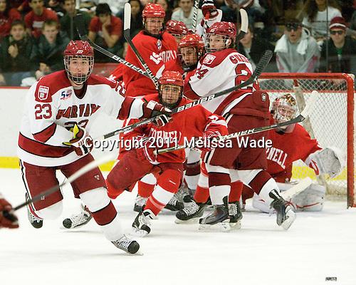 Matt McCollem (Harvard - 23), Tyler Roeszler (Cornell - 9), Sean Whitney (Cornell - 19), ?, Luke Greiner (Harvard - 24) - The visiting Cornell University Big Red defeated the Harvard University Crimson 2-1 on Saturday, January 29, 2011, at Bright Hockey Center in Cambridge, Massachusetts.