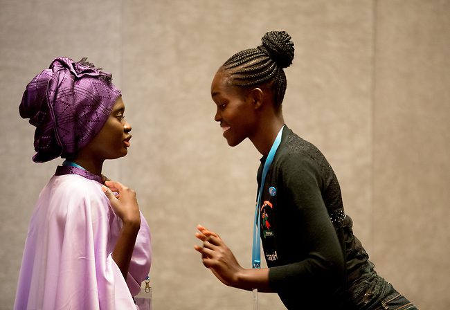 25 June, 2018, Kuala Lumpur, Malaysia : Rokhaya Ngom (left) and Belinda Akeyo of Kenya at the Opening Plenary session at the Girls Not Brides Global Meeting 2018 at the Kuala Lumpur Convention Centre. Picture by Graham Crouch/Girls Not Brides