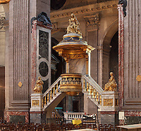 Chiselled and gilded Pulpit, designed by Charles de Wailly, 1730-98, Eglise Saint-Sulpice (St Sulpitius' Church), c.1646-1745, late Baroque church on the Left Bank, Paris, France. Picture by Manuel Cohen