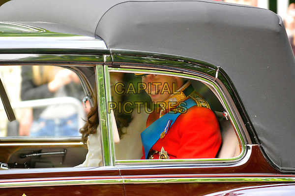 Duke and Duchess of Cambridge, Catherine Middleton & Prince William.Trooping The Colour - The Queen's official birthday, Horse Guards Parade.London, England..June 11, 2011.royal royalty kate car married husband wife uniform .CAP/CAS.©Bob Cass/Capital Pictures.