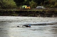 Pictured: Divers search in the river Ogmore near Stormy Down, Wales, UK. Tuesday 22 November 2016<br />Re: The search has resumed for Russell Sherwood, 69, who went missing in river Ogmore, Bridgend County on Sunday.<br />Sherwood, of Cilfrew, Neath, was heading for Ewenny in the Vale of Glamorgan during heavy rain in the morning but never arrived.<br />He disappeared at Stormy Down and car parts were found on the river bank.<br />South Wales Police have confirmed registration plates recovered from a bumper match Mr Sherwood's car.
