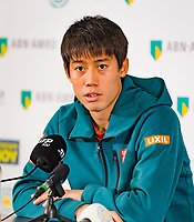 Rotterdam, The Netherlands, 14 Februari 2019, ABNAMRO World Tennis Tournament, Ahoy, Pressconference withe Kei Nishikori (JPN)<br /> Photo: www.tennisimages.com/Henk Koster