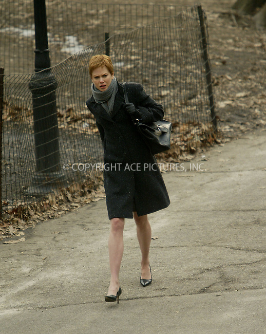 Nicole Kidman re-shoots some of the scenes for her new movie, 'Birth.' Central Park, New York, February 20, 2004. Please byline: ACE Pictures.   ..*PAY-PER-USE*      ....IMPORTANT: Please note that our old trade name, NEW YORK PHOTO PRESS (NYPP), is replaced by our new name, ACE PICTURES. New York Photo Press and ACE Pictures are owned by All Celebrity Entertainment, Inc.......All Celebrity Entertainment, Inc:  ..contact: Alecsey Boldeskul (646) 267-6913 ..Philip Vaughan (646) 769-0430..e-mail: info@nyphotopress.com