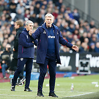 1st February 2020; London Stadium, London, England; English Premier League Football, West Ham United versus Brighton and Hove Albion; West Ham United manager David Moyes looks on from the sideline and appeals for a decision