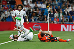 Real Madrid´s Sergio Ramos and Shakhtar Donetsk´s /sk during Champions League soccer match between Real Madrid and Shakhtar Donetsk at Santiago Bernabeu stadium in Madrid, Spain. Spetember 15, 2015. (ALTERPHOTOS/Victor Blanco)