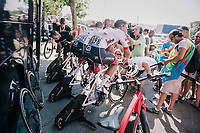 warming down with Team Trek-Segafredo post-race<br /> <br /> Stage 2: Mouilleron-Saint-Germain &gt; La Roche-sur-Yon (183km)<br /> <br /> Le Grand D&eacute;part 2018<br /> 105th Tour de France 2018<br /> &copy;kramon