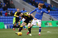 Rotherham United's Richie Towell (left)  battles with Oldham Athletic's Ben Pringle (On loan from Preston) (right)  during the Sky Bet League 1 match between Oldham Athletic and Rotherham United at Boundary Park, Oldham, England on 13 January 2018. Photo by Juel Miah / PRiME Media Images.