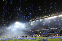 Fireworks and celebrations at the final whistle at Stamford Bridge during Chelsea vs Watford, Premier League Football at Stamford Bridge on 15th May 2017