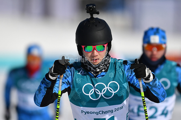 A cross-country skier wearing a miniature action camera on her helmet during training in the Alpensia Cross-country Skiing Centre in Pyeongchang, South Korea, 07 February 2018. The Pyeongchang 2018 Winter Olympics take place between 09 and 25 February. Photo: Hendrik Schmidt/dpa-Zentralbild/dpa /MediaPunch ***FOR USA ONLY***