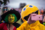 © Joel Goodman - 07973 332324. 06/08/2017 . Macclesfield , UK . Members in the crowd in costume as Grotbags from Emu's Pink Windmill Show and Zippy from Rainbow The Rewind Festival , celebrating 1980s music and culture , at Capesthorne Hall in Siddington . Photo credit : Joel Goodman