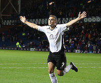 Ryan McGuffie after scoring the winning penalty in the Rangers v Queen of the South Quarter Final match in the Ramsdens Cup played at Ibrox Stadium, Glasgow on 18.9.12.