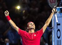 27th October 2019; St. Jakobshalle, Basel, Switzerland; ATP World Tour Tennis, Swiss Indoors Final; Roger Federer (SUI) celebrates winning the match against Alex de Minaur (AUS) - Editorial Use