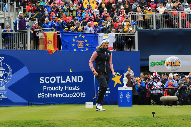 Suzann Pettersen of Team Europe on the 1st tee during Day 2 Fourball at the Solheim Cup 2019, Gleneagles Golf CLub, Auchterarder, Perthshire, Scotland. 14/09/2019.<br /> Picture Thos Caffrey / Golffile.ie<br /> <br /> All photo usage must carry mandatory copyright credit (© Golffile | Thos Caffrey)