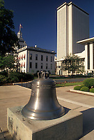 AJ4013, State Capitol, State House, Tallahassee, Liberty Bell, Florida, Replica of the Liberty Bell in front of The State Capitol Building in the capital city of Tallahassee in the state of Florida.